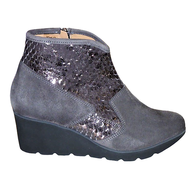 Womens Grey Suede Wedge Heeled Boots